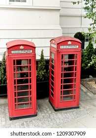 Two Red Telephone Booths in London