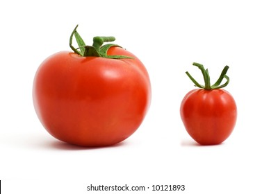 Two red tomatoes, small and big.