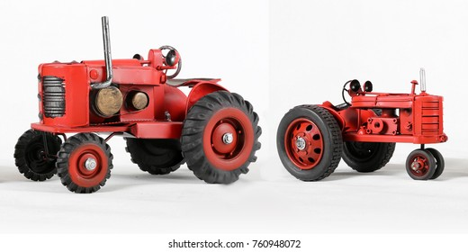 Two Red Toy Tractors