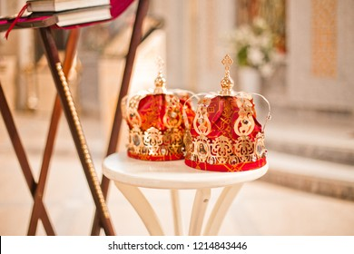 Two red Wedding Ceremonial sacrament Crown in the temple near the altar. sacrament of wedding in the Orthodox church.