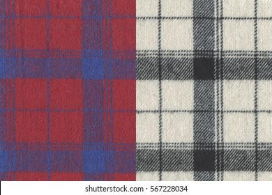 Two red and white color fabric textures(flannel, ginghamcheck, woven) for background