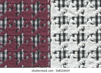 two red and white color jacquard woven fabric textures with hound's tooth check for background.