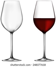 Two red wine glasses - empty and full