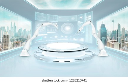 Two rendering assembly robot arm in futuristic lab with large windows and city urban landscape . Mixed media .