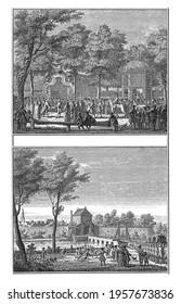 Two representations of the arrival at the city and of the offering of the keys to Willem IV, vintage engraving. - Shutterstock ID 1957673836