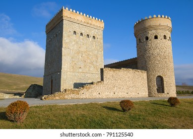 Two restored towers of the ancient Shemakha fortress close-up. Shemakha, Azerbaijan
