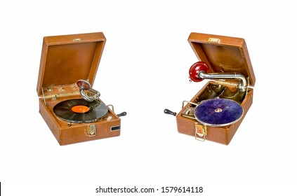 Two retro gramophones isolated on white. Two phogographs. Vintage gramophones