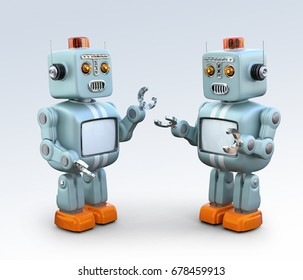 Two retro robots talking to each other. Chatbot concept. 3D rendering image.