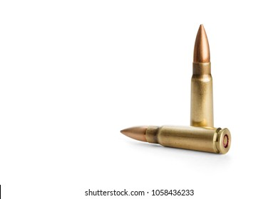 Two rifle bullets over white background, including clipping path