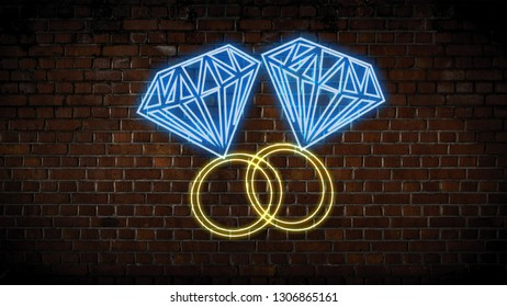 Two rings  on a brick wall