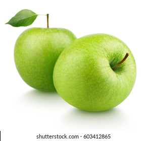 Two ripe green apple fruits with green apple leaf isolated on white background