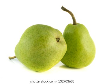 Two ripe green pear on white background. Isolated fruit (health). Healthy fruit with vitamins.