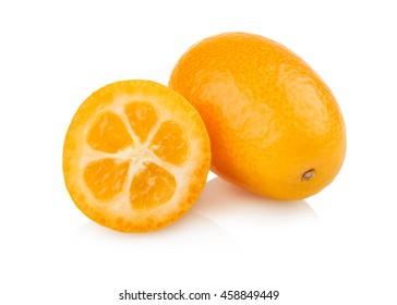 Two ripe kumquat fruit on white background