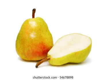 Two ripe pear isolated on white background
