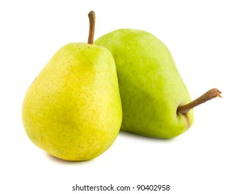 Two ripe pears isolated on white background