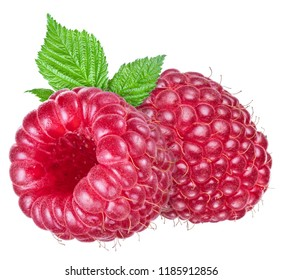 Two ripe raspberries with leaf on white background. Organic food.