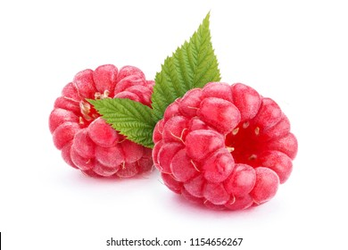 Two ripe raspberries with leaves, isolated on white background