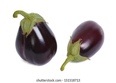 Two ripe round aubergine isolated on white background