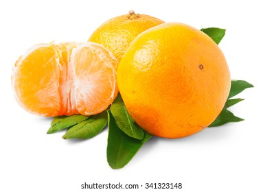 Two ripe tangerines isolated on white background.