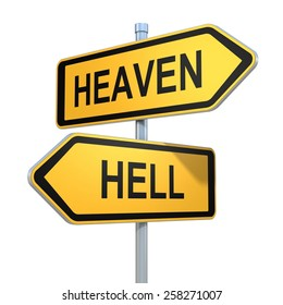 two road signs - heaven hell choice