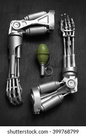 Two robot arms and green grenade on a dark background.