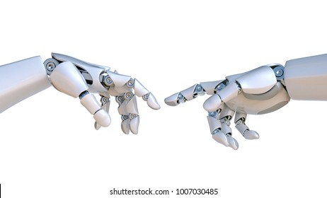 Two robot hands as Michelangelo's Creation of Adam 3d rendering