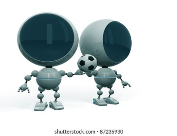 Two robotic football fans hold one ball