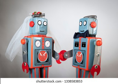 Two robots getting married