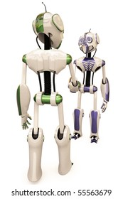 two robots shake hands. with clipping path.