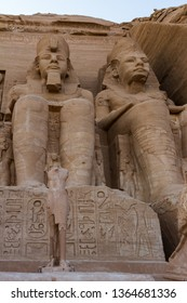 Two rock cut seated figures of Ramses II flankn the entrance to the Temple at Abu Simbel, Egypt. Ramses built numerous monuments to himself throughout Nubia in what is now southern Egypt.