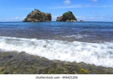Two Rocks in the Atlantic Ocean at the Dominica, Caribbean.
