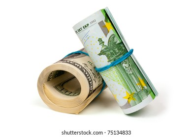 Two rolls of euros and dollars  isolated on white background