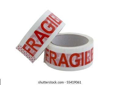 Two rolls of fragile sticky tape used to seal cartons and boxes