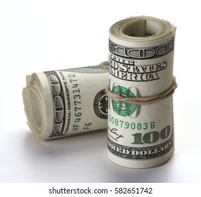 Two Rolls of One Hundred Dollars Bill isolated