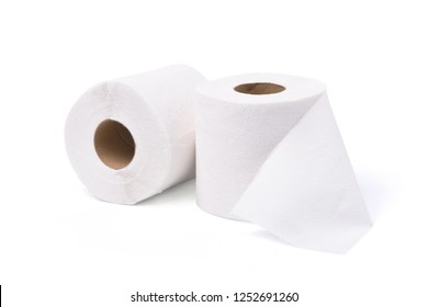 Two Rolls of soft toilet paper isolated on white background with clipping path.