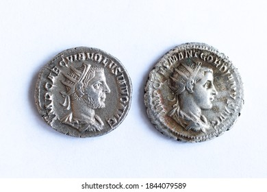 Two roman coins Gordian Antoninian front
