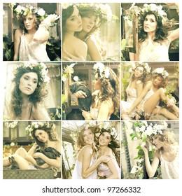 Two romantic beauty ladies in garden