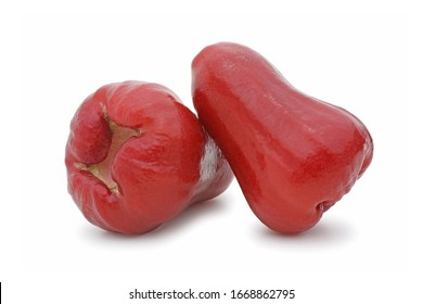 Two of rose apples, chomphu or thailand apple fruit isolated on white background