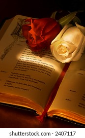 "Two roses on the famous book ""romeo and juliet"" by Shakespeare, highlighting the passage about the rose ""what's in a name"", the ideal valentine card"