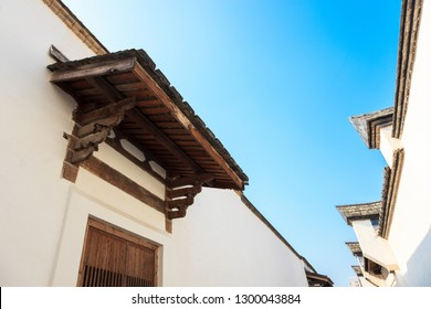 Two row of  The traditional Chinese roof and wall against a blue sky. Old houses in the  Three Lanes and Seven Alleys, most famous place in Fuzhou,Fujian,China
