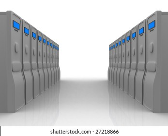 Two rows of grey servers