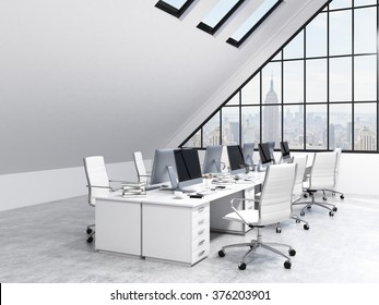Two rows of tables leading to the panoramic window in an office in an attic. Computers and stuff on them, white chairs. NYC view. Concept of a modern office. 3D rendering