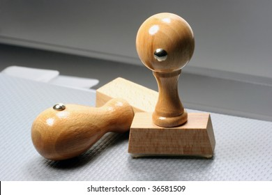Two Rubber Stamps, business close-up