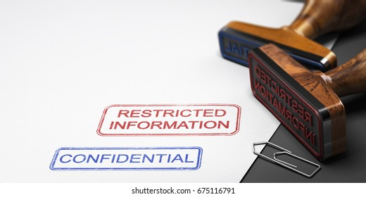 Two rubber stamps over paper background with the text restricted information and confidential. 3D illustration.
