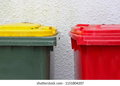Two rubbish and recycle bins