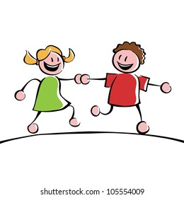 Two running kids (boy and girl) holding hands