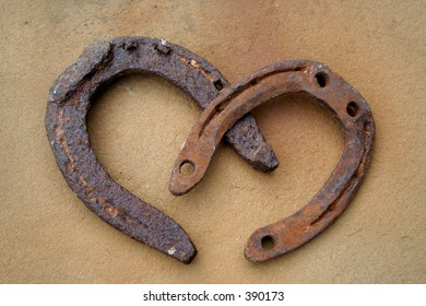 two rusty horseshoes