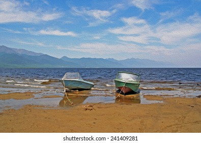 Two rusty motor boats at anchor on the beach at the shores of Lake Baikal, Russian Siberia, ,  stylized and filtered to resemble an oil painting