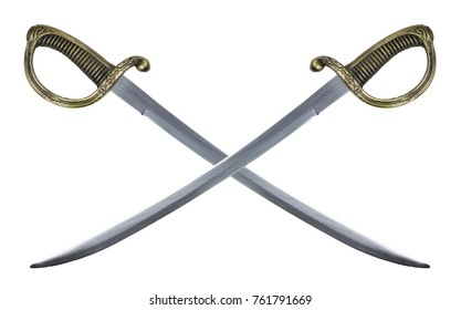 two sabers cross  on a white background