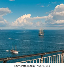 Two sailing vessels in the bay of Sorrento. Italy.
